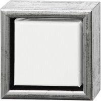Tela ArtistLine con cornice, P 3 cm, misura 14x14 cm, argento antico, bianco, 1 pz