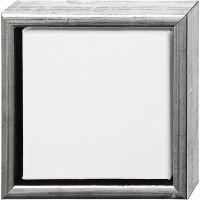 Tela ArtistLine con cornice, P 3 cm, misura 19x19 cm, argento antico, bianco, 1 pz