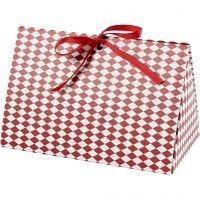 Scatola regalo pieghevole, Motivo arlecchino, misura 15x7x8 cm, 250 g, rosso, bianco, 3 pz/ 1 conf.