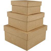 Scatole quadrate, H: 5+6+7,5 cm, misura 10+12,5+15 cm, 3 pz/ 1 set