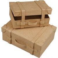 Mini valigie, H: 4,5+5 cm, L: 7.5+10 cm, L: 11+14 cm, 2 pz/ 1 set