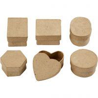 Mini scatole, H: 3 cm, diam: 4-6 cm, 6 pz/ 1 conf.