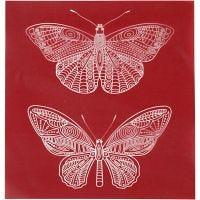 Scheda stencil, farfalla, 20x22 cm, 1 fgl.