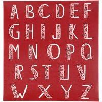 Scheda stencil, alfabeto, 20x22 cm, 1 fgl.