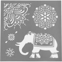 Stencil, motivi etnici, misura 30,5x30,5 cm, spess. 0,31 mm, 1 fgl.
