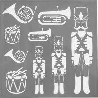 Stencil, tamburino, misura 30,5x30,5 cm, spess. 0,31 mm, 1 fgl.