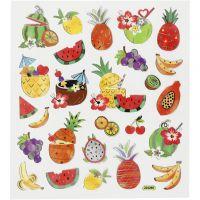 Stickers, frutta esotica, 15x16,5 cm, 1 fgl.