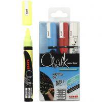 Chalk Pen, ampiezza tratto 1,8-2,5 mm, blu, rosso, bianco, giallo, 4 pz/ 1 conf.