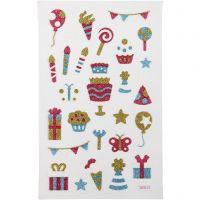 Adesivi glitterati, Compleanno, 10x16 cm, 1 fgl.