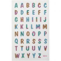 Adesivi glitterati, Lettere, 10x16 cm, 1 fgl.