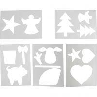 Modelli natalizi sagomati, A4, 210x297 mm, bianco, 5 fgl. asst./ 1 conf.