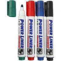 Pennarelli per lavagna, ampiezza tratto 4 mm, nero, blu, verde, rosso, 4 pz/ 1 conf.