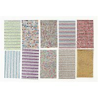 Strass, diam: 4-6 mm, 16x9,5 cm, colori asst., 10 fgl./ 1 conf.