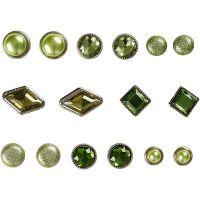 Rivetti decorativi, misura 8-18 mm, verde, 16 pz/ 1 conf.