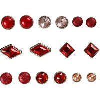 Rivetti decorativi, misura 8-18 mm, rosso, 16 pz/ 1 conf.
