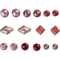 Rivetti decorativi, misura 8-18 mm, rosa, 16 pz/ 1 conf.