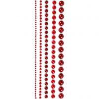 Mezze perle, misura 2-8 mm, rosso, 140 pz/ 1 conf.