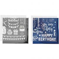 Deco Foil e fogli trasferibili, compleanno, 15x15 cm, blu scuro, argento, 2x2 fgl./ 1 conf.