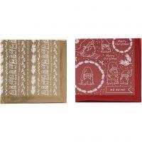 Deco Foil e fogli trasferibili, Natale tradizionale, 15x15 cm, oro, rosso, 2x2 fgl./ 1 conf.