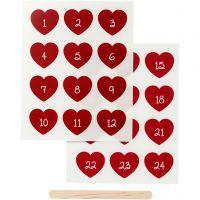 Sticker da strofinare, numeri dell'avvento, H: 32 mm, L: 28 mm, 12,2x15,3 cm, rosso, 1 conf.