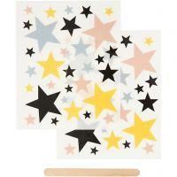 Sticker da strofinare, stelle, 12,2x15,3 cm, 1 conf.