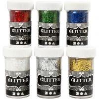 Pagliuzze glitter - assortimento, colori metallici, 6x20 g/ 1 conf.