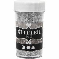 Glitter, argento, 20 g/ 1 vasch.
