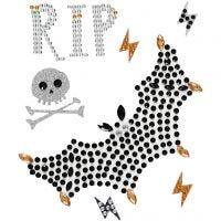 Stickers con brillantini, RIP e pipistrello, 14x17 cm, 1 fgl.