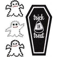 Stickers con brillantini, fantasmi e bara, 14x17 cm, 1 fgl.