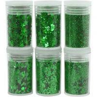 Glitter e strass, verde, 6x5 g/ 1 conf.