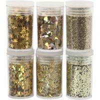 Glitter e strass, oro, 6x5 g/ 1 conf.
