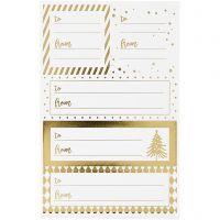 Stickers, 9x14 cm, misura 42x39+84x29 mm, oro, bianco, 4 fgl./ 1 conf.