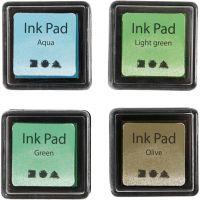 Tampone inchiostrato, H: 2 cm, misura 3,5x3,5 cm, verde, verde chiaro, oliva, aqua, 4 pz/ 1 conf.
