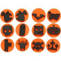 Timbri di gomma, Halloween, diam: 7,5 cm, spess. 2,5 cm, 6 pz/ 1 conf.