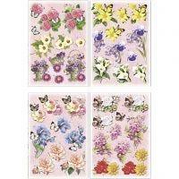 Motivi decoupage 3D, fiori e farfalle, 21x30 cm, 4 fgl./ 1 conf.