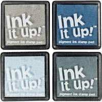 Tamponi di inchiostro, misura 40x40 mm, armonia blu/grigio, 4 pz/ 1 conf.