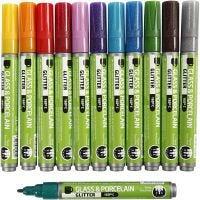Penna per vetro e porcellana, ampiezza tratto 2-4 mm, colori asst., 12 pz/ 1 conf.