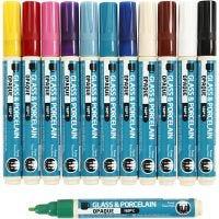 Penna per vetro e porcellana, ampiezza tratto 2-4 mm, opaca, colori asst., 12 pz/ 1 conf.