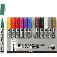 Penna per vetro e porcellana, ampiezza tratto 1-2 mm, semi opaco, colori asst., 12 pz/ 1 conf.