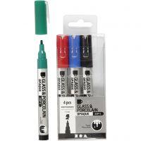 Penna per vetro e porcellana, ampiezza tratto 1-2 mm, semi opaco, nero, blu, verde, rosso, 4 pz/ 1 conf.