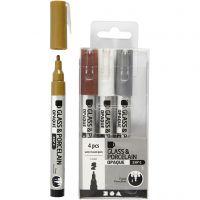 Penna per vetro e porcellana, ampiezza tratto 1-2 mm, semi opaco, marrone, oro, argento, bianco, 4 pz/ 1 conf.