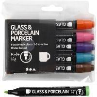 Penna per vetro e porcellana, ampiezza tratto 1-3 mm, semi opaco, colore aggiuntivo, 6 pz/ 1 conf.