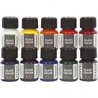Colore trasparente per vetro, colori asst., 10x30 ml/ 1 conf.
