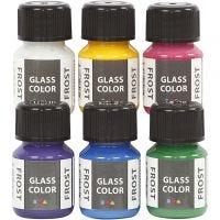 Colore satinato per vetro, colori asst., 6x30 ml/ 1 conf.