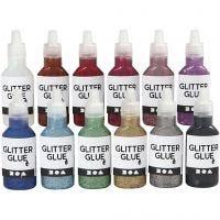 Colla glitter, colori asst., 12x25 ml/ 1 conf.