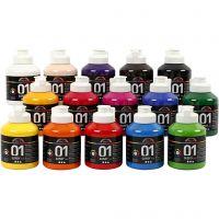 Vernice acrilica scolastica lucida, brillante, colori asst., 15x500 ml/ 1 scat.
