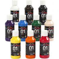 Vernice acrilica scolastica lucida, brillante, colori asst., 10x100 ml/ 1 conf.