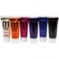 Vernice acrilica scolastica lucida, brillante, colore aggiuntivo, 6x20 ml/ 1 conf.