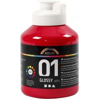 Vernice acrilica scolastica lucida, brillante, rosso primario, 500 ml/ 1 bott.
