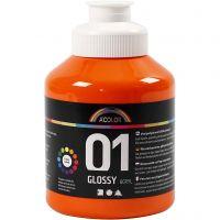 Vernice acrilica scolastica lucida, brillante, arancio, 500 ml/ 1 bott.
